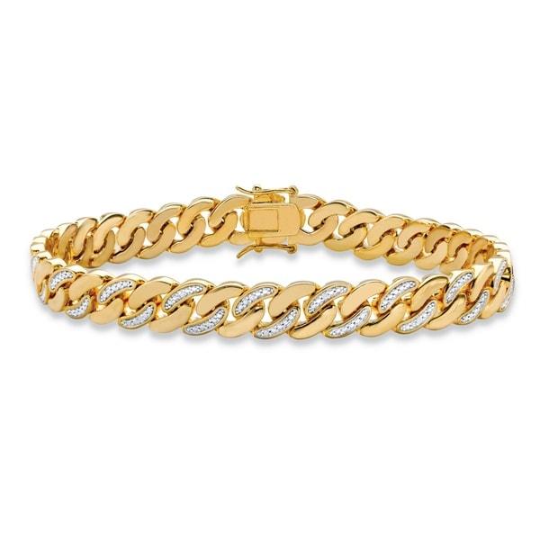 Shop Men S Yellow Gold Plated Curb Link Bracelet 9mm