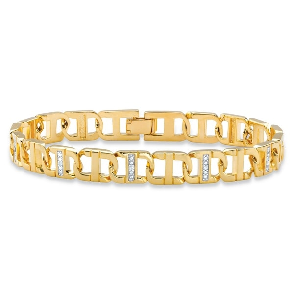 Men's Diamond Accent Pave-Style Two-Tone Mariner-Link Bracelet Yellow Goldplated 8.5 I
