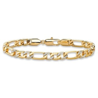 Men's Diamond Accent Pave-Style Two-tone Figaro-Link Bracelet with Lobster Clasp 14k Yello