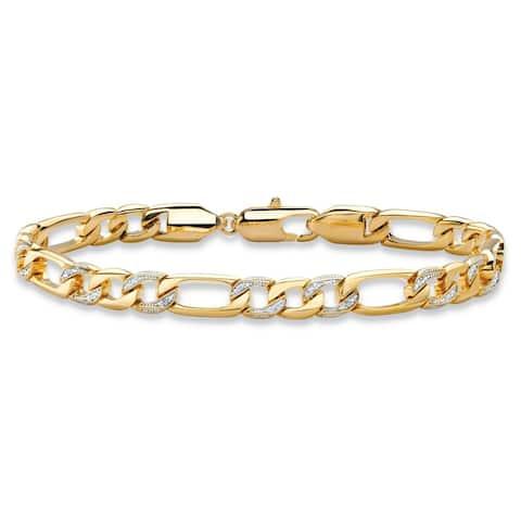 "Men's Yellow Gold-Plated Figaro-Link Bracelet (7mm), Genuine Diamond Accent 8.5"""