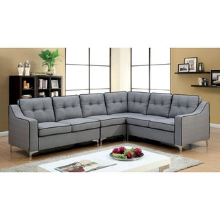 Furniture Of America Sylvanas Contemporary Tufted Fabric L Shaped Sectional