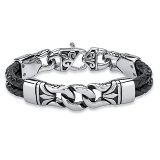 Men's Black Leather Woven Tribal Link Bracelet in Stainless Steel with Lobster Clasp 8.5 I