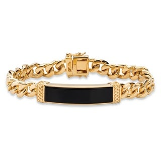 Men's Emerald-cut Genuine Black Onyx Curb-Link Bracelet 14k Goldplated 8.5 Inches