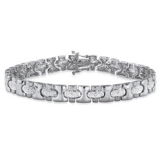 Men's Diamond Accent Pave-Style Bar-Link Bracelet in Silvertone 8.5 Inches