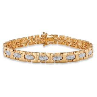 Men's Diamond Accent Pave-Style Link Bracelet 18k Yellow Goldplated 8.5 Inches