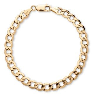 Men's 6.5 mm Curb-Link Bracelet in 10k Yellow Gold 8Inches|https://ak1.ostkcdn.com/images/products/14124739/P20729806.jpg?impolicy=medium