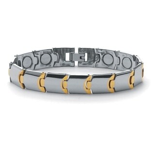 Men's Gold Ion-Plated Stainless Steel Magnetic Puzzle-Link Bracelet 8Inches