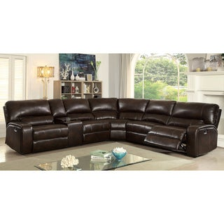 Furniture of America Decha Breathable Leatherette Brown Reclining Sectional