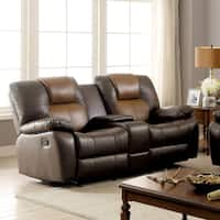 Furniture of America Carmez Two-tone Brown Leatherette Reclining Loveseat