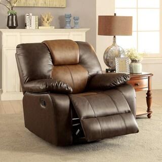 Furniture of America Carmez Two-tone Brown Leatherette Glider Recliner