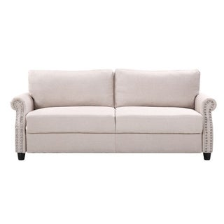 Living Room Linen Nailhead Storage Sofa