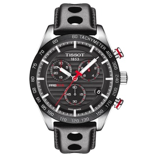 Tissot PRS 516 Men's Chronograph Black Dial Stainless Steel, Leather Watch