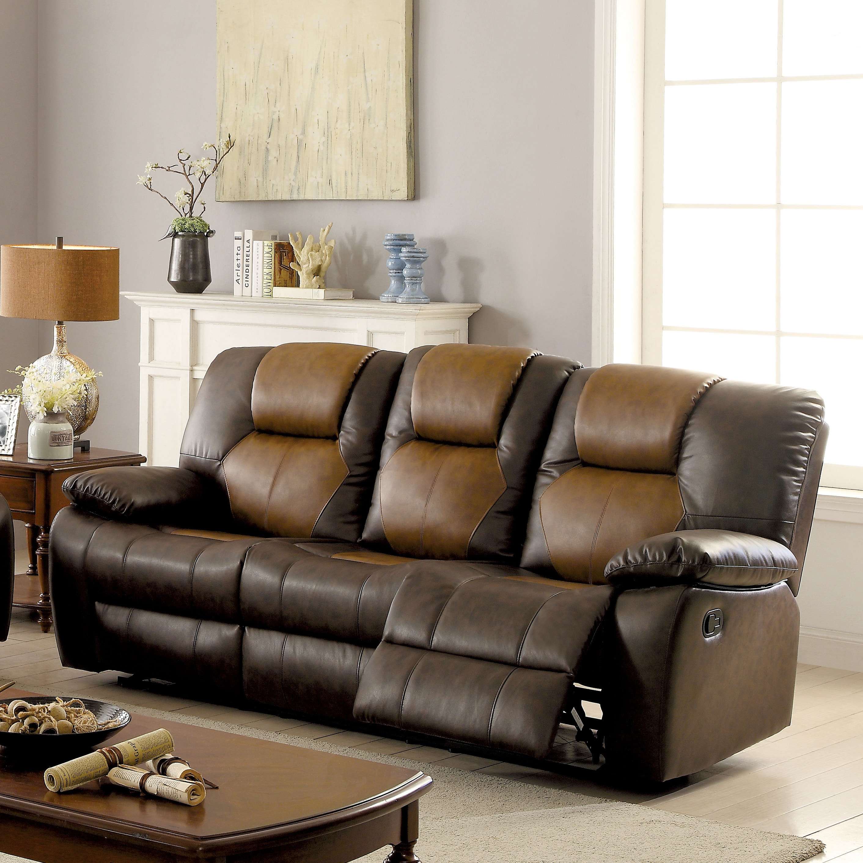 Furniture of America Alco Transitional Brown Glider Reclining Sofa