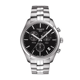 Tissot Men's Stainless Steel Black Sapphire Dial Swiss Quartz Movement Chronograph Watch