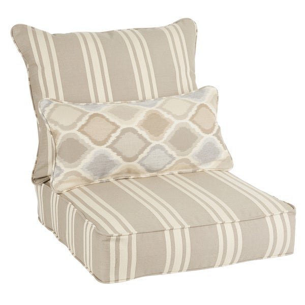 sunbrella striped indoor outdoor corded pillow and chair cushion set