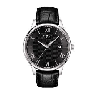 Tissot Men's 'Tradition' Black Leather Watch