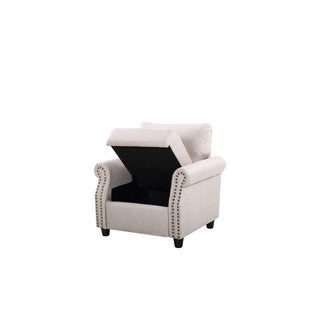 Linen Living Room Nailhead Storage Armchair