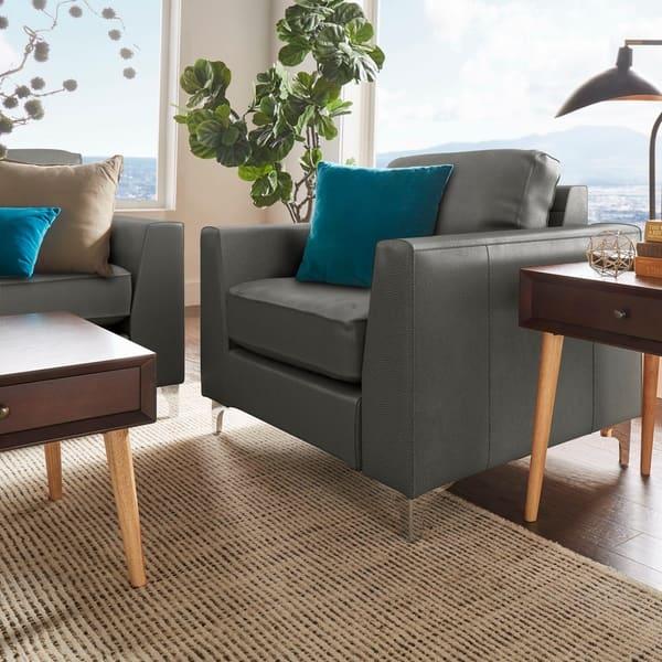 Superb Shop Bastian Aniline Leather Chair Inspire Q Modern On Ibusinesslaw Wood Chair Design Ideas Ibusinesslaworg
