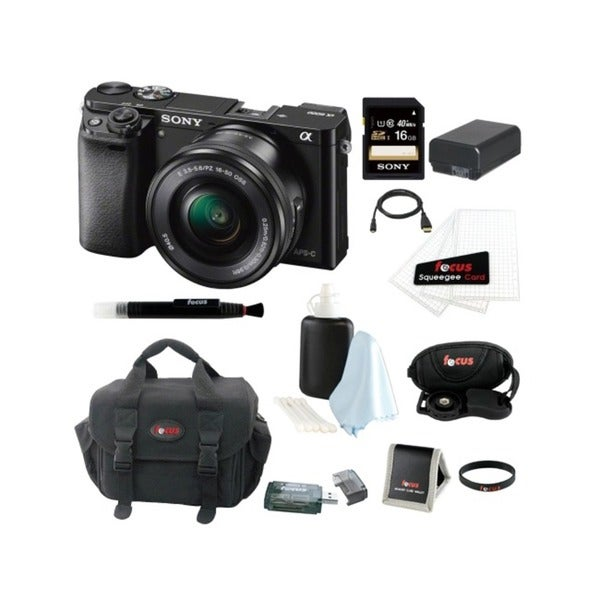 Sony Alpha a6000 ILCE-6000L/B 24.3 Interchangeable Lens Camera with 16-50mm Power Zoom Lens + Sony 16GB SDHC Card + Kit