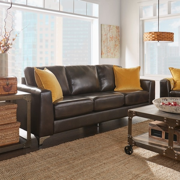 Shop Bastian Aniline Leather Dark Brown Sofa iNSPIRE Q Modern - Free ...