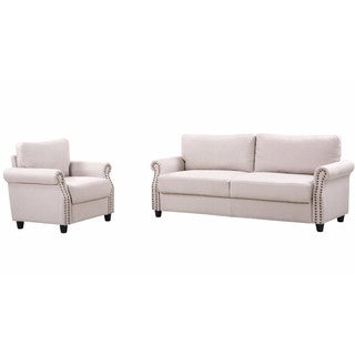 2 Piece Linen Fabric Living Room Sofa & Armchair Furniture Set w/ Storage