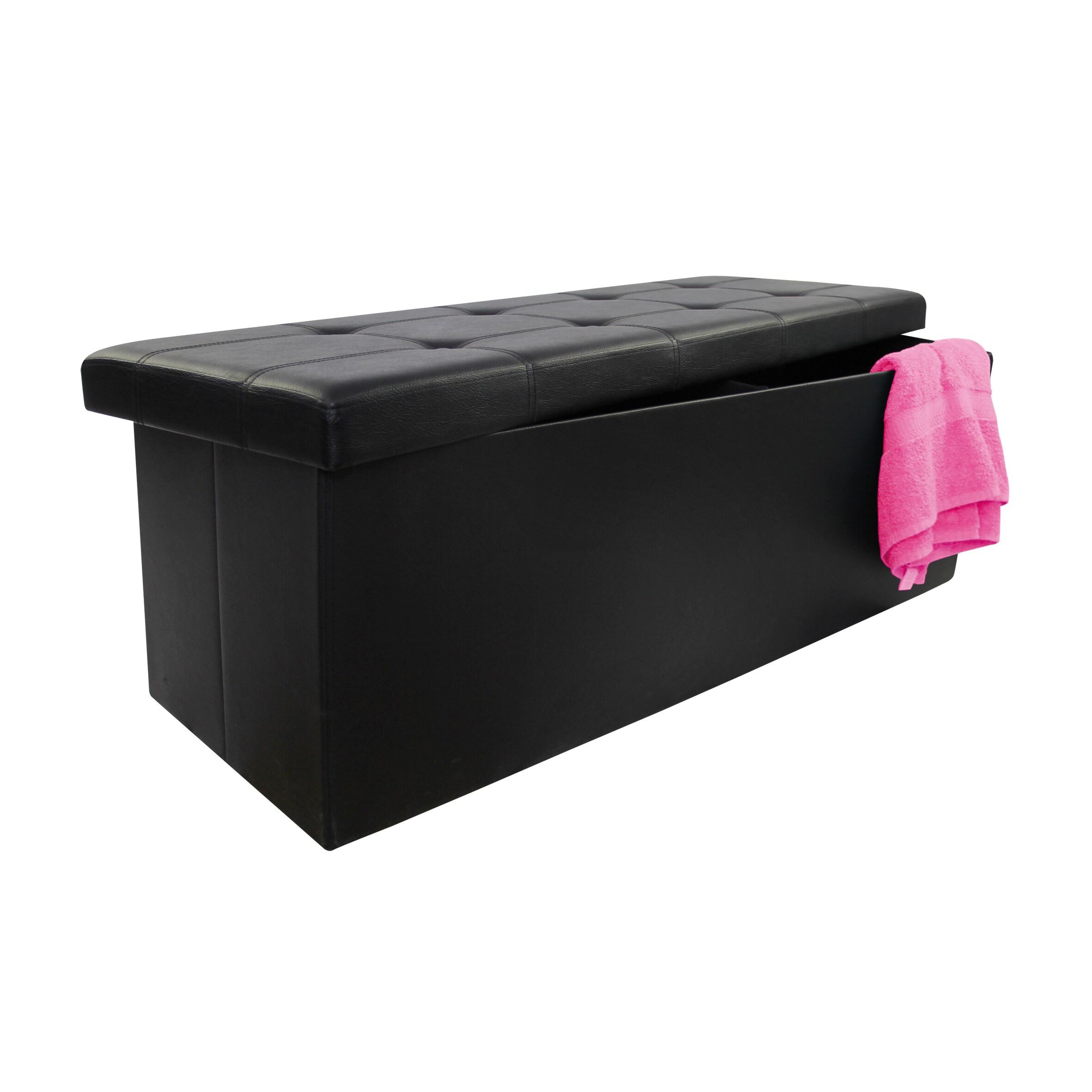 BEYOND Black Faux Leather Collapsible Storage Ottoman (Bl...