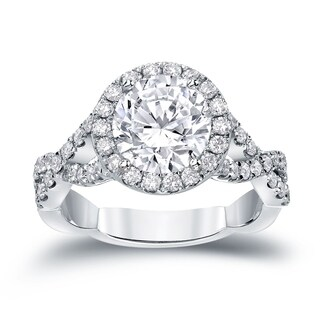 Auriya 14k Gold 2 3/4ct TDW Certified Round Cut Diamond Halo Engagement Ring