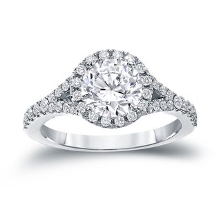 Auriya 14k Gold 2ct TDW Certified Round Cut Diamond Halo Engagement Ring