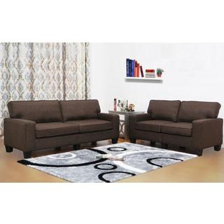 Leila Dark Brown Linen 2-Piece Sofa Set