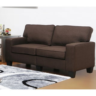 Leila Dark Brown Linen Loveseat