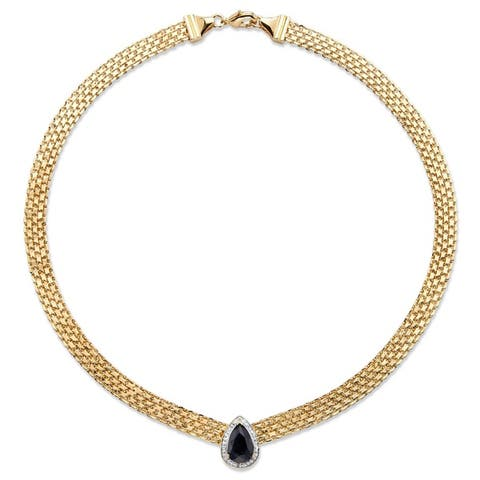 """Yellow Gold-Plated Bismark with Link Necklace (16.5mm), Pear Shaped Genuine Midnight Blue, Sapphire and Diamond Accent, 16"""""""