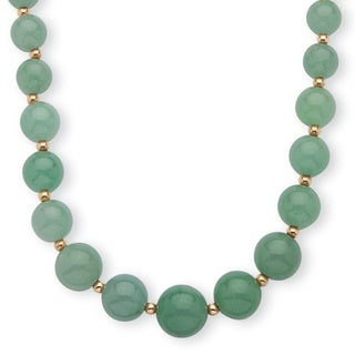 Genuine Green Jade Beaded 10k Yellow Gold Graduated Necklace 18 Inches