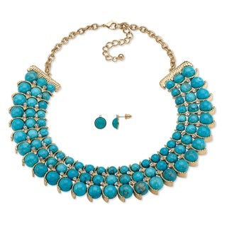 Simulated Turquoise and Crystal Two-Piece Necklace and Earrings Set in Goldtone 17Inches-1