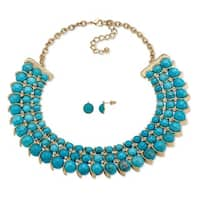 """Gold Tone Collar Necklace (32mm), Round Simulated Howlites, 17"""" plus 2"""" extension"""