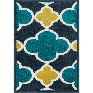 Palm Navy/ Teal Geometric Rug (2'5 x 3'9)