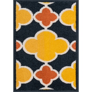 Palm Navy/ Lemon Geometric Rug (2'5 x 3'9)