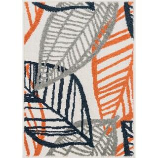 Palm Ivory/ Orange Rug (2'5 x 3'9)