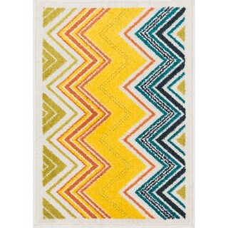 Palm Ivory/ Multi Chevron Rug (2'5 x 3'9)