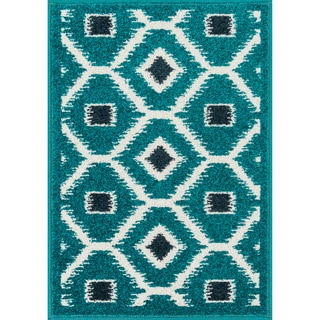 Palm Teal/ Navy Geometric Rug (2'5 x 3'9)