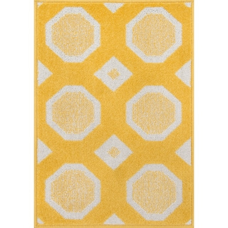 Palm Lemon/ Ivory Geometric Rug (2'5 x 3'9)