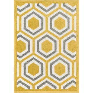 Palm Citron/ Grey Geometric Rug (2'5 x 3'9)