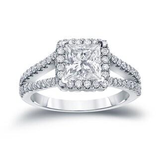 Auriya 14k Gold 1 1/4ct TDW Princess Cut Diamond Halo Engagement Ring (H-I, SI1-SI2)