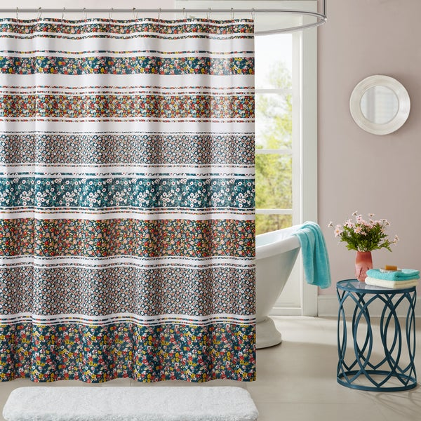 Intelligent Design Amelia Teal Printed Shower Curtain
