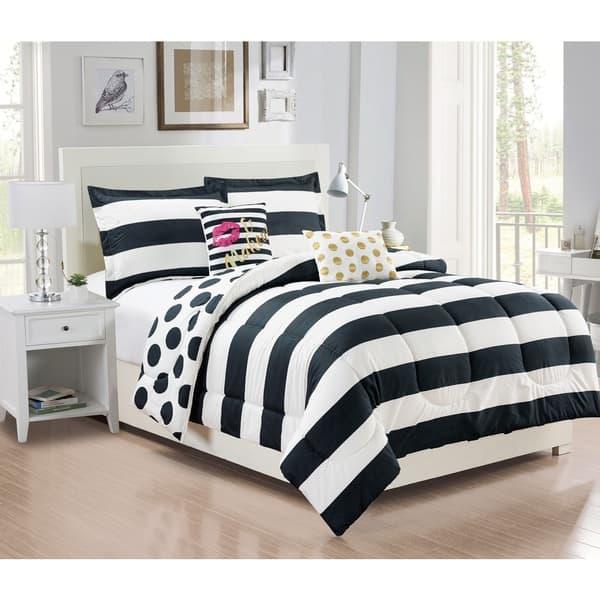 Shop City Girl Black and White Reversible 5 piece Comforter Set