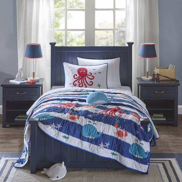 Mi Zone Kids Under the Sea Blue Printed 4-piece Coverlet Set