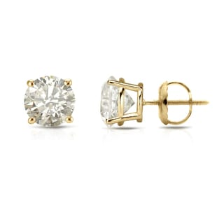 Auriya 18k Gold 1ct TDW 4-Prong Screw-Back Clarity Enhanced Diamond Stud Earrings (J-K, I2-I3)
