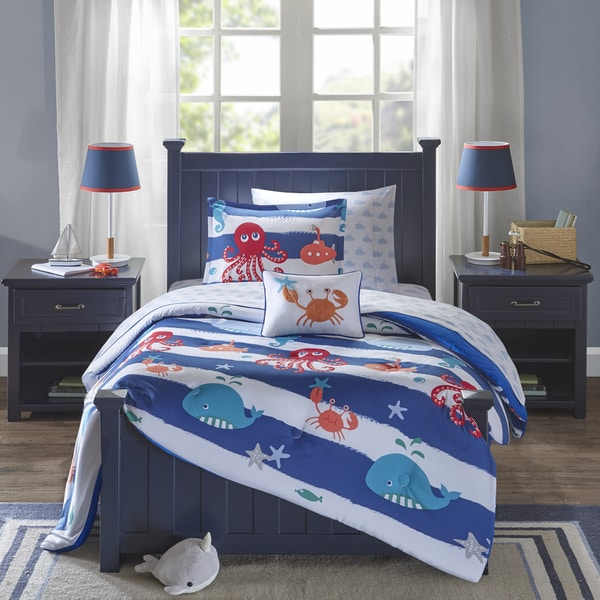 shop mi zone kids under the sea blue printed 8 piece bed in a bag with sheet set on sale. Black Bedroom Furniture Sets. Home Design Ideas