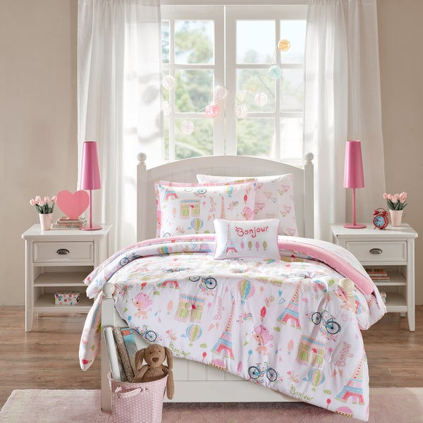 mi zone kids penelope the poodle pink printed 8 piece bed in a bag with sheet set free. Black Bedroom Furniture Sets. Home Design Ideas