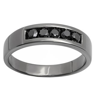 Black over Silver Men's 3/4ct TDW Black Round Diamond 5-stone Wedding Band