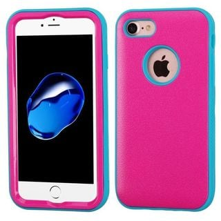 Insten Hot Pink/ Teal Verge Hard PC/ Silicone Dual Layer Hybrid Rubberized Matte Case Cover For Apple iPhone 7
